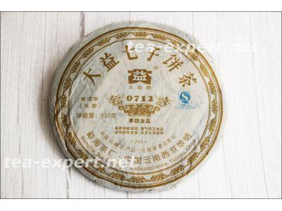 "大益""七子饼茶0712""2007年(生茶) Da Yi Qi Zi Bing Cha ""Семёрка от Да И 0712"""
