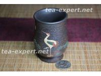 """茶杯""""仙鹤祥瑞彩绘""""100毫升 Xianhe Xiangrui """"Журавль - хорошая примета"""""""