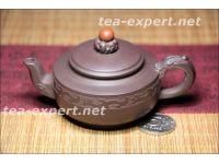 """""""龙纹一粒珠""""宜兴茶壶90毫升(紫泥) Long Wen Yi Li Zhu """"Дракон и жемчужина"""""""