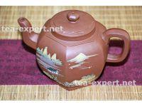 """宜兴茶壶""""六方壶""""350毫升(红色) Liufang Hu """"Шесть сторон"""""""